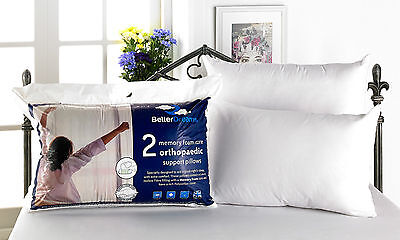 2 Pack Deluxe Luxury Memory Foam Core Orthopedic Betterdreams Pillows