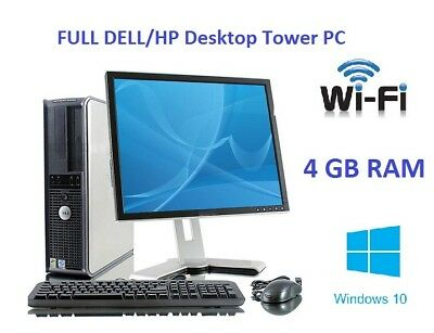 Full Dell/Hp Dual Core/Amd Desktop Tower Pc&Tft Computer System Windows 10 & 4Gb