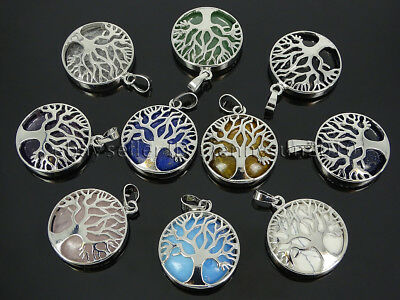Natural Gemstone Reiki Chakra Tree of Life Healing Pendant Charm Beads Silver