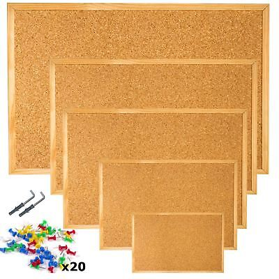 Cork Pin Message Notice Board Wooden Frame + 20 Push Pins + Wall Fixings.UK