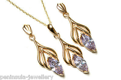 9ct Gold Lilac CZ Pendant and Earring Set Gift Boxed Made in UK