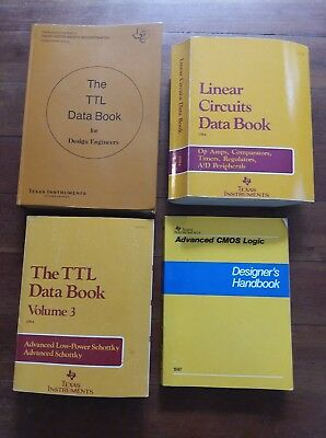 Lot of 4 Vintage Texas Instruments Books~Linear Circuits Data~Diode~TTL~CMOS