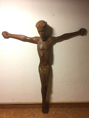 Large rare antique black forest hand carved wooden wall crucifix Jesus Christ