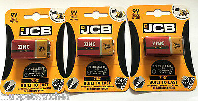 3 x JCB ZINC BATTERY Size 9V 6LR61 MN1604 'Square Block' Smoke Alarm Batteries