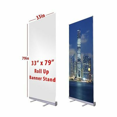 "Flexzion Retractable Banner Stand 33"" x 79"" Roll Up Stand Portable for Trade ..."