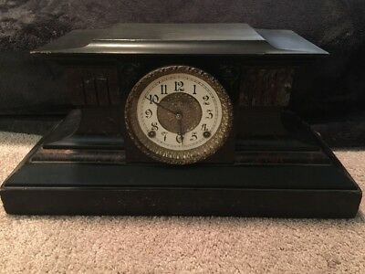 Beautiful Antique Fancy Mantle Clock E Ingraham Company USA Black Brown Gold