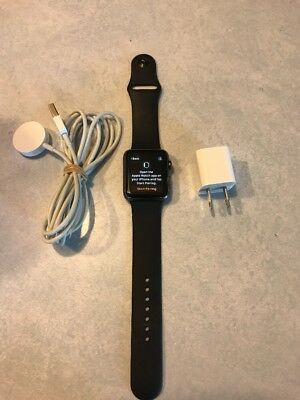 Apple Watch Gen 1 7000 Series 42mm Gray Aluminum Case  Large Black Sport Band