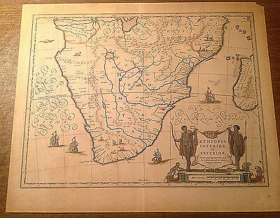 Rare c1630s Aethiopia Inferior vel Exterior Engraved Map of South Africa