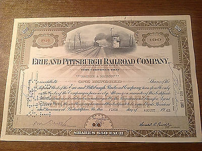 Vintage 1963 Erie and Pittsburgh Railroad Company Stock Certificate 100 Shares