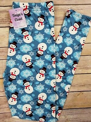 PLUS Size NEW Snowman Snowflake Leggings Holiday Christmas Buttery Soft 10-18