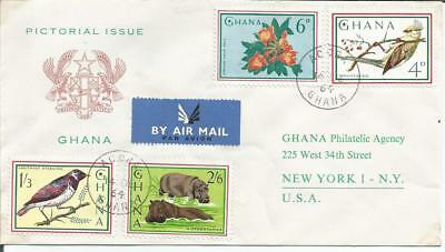 Ghana 1964  Pictorial Issue Starling Mousebird  Accra to New York  FDI FDC Cover