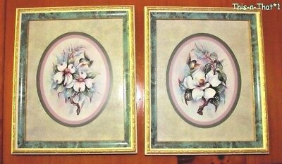 Set of two Framed and Matted Hummingbird and Floral Flowers Pictures Wall Decor