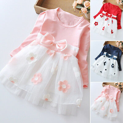 Baby Girls Long Sleeve Cotton Toddler Bowknot Tulle Party Princess Skater Dress