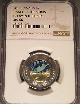 2017 Canada Glow in the Dark Two Dollar $2 Dance of the Spirits Toonie,NGC MS 66