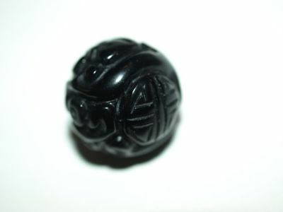 One Vintage Antique Carved Chinese Bead Black Obsidian or Jade Shou 17mm Round