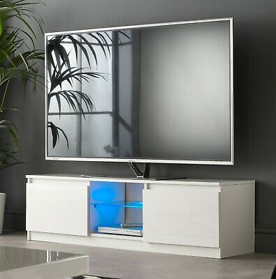 "Modern TV Unit, TV Cabinet 140cm white gloss with Blue LED lights for 65"" TV's"