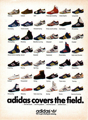 1980 Adidas- 43 Models for Different Athletic Events-Sports-Original Magazine Ad