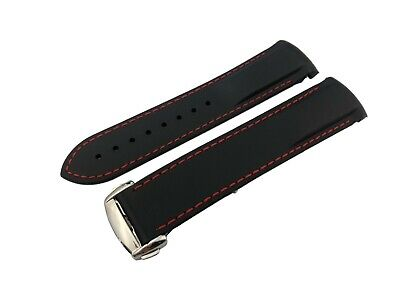 BLACK/RED 22mm Rubber/Silicone STRAP/BAND OMEGA WATCH SeaMaster PLANET OCEAN