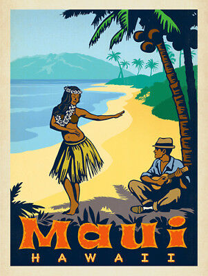 3x4 inch Vintage Art MAUI STICKER - hawaii hawaiian old logo travel visit island