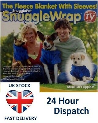 SOFT FLEECY DOG PUPPY BLANKET WITH SLEEVES Snuggle Wrap Size S - As Seen on TV