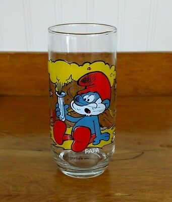 1982 Vintage Papa Smurf Drinking Glass Peyo Collectible Cartoon Character