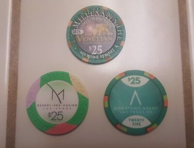 3 Las Vegas $25 Casino Chips Venetian, M Resort, Downtown Grand Good Condition