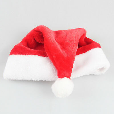 Adult & Kids Red Xmas Christmas Plush Santa Claus Hat Cap Soft Thick US Stock