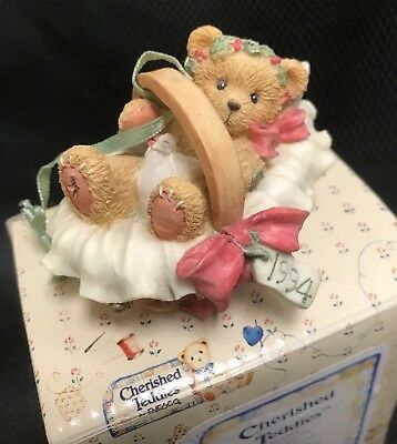 Cherished Teddies #617253 'Beary Christmas' Baby in Basket 1994 Mint in Box