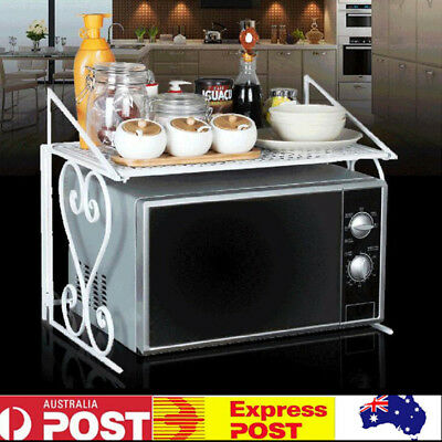 2-Tier Wrought Iron Kitchen Storage Shelf Microwave Oven Rack Household Durable