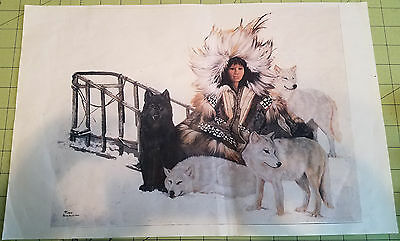 Indian Maiden with Wolves and Sled Poster