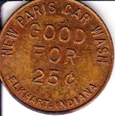 25c  New Paris  Car Wash Token   Elkhart, Indiana