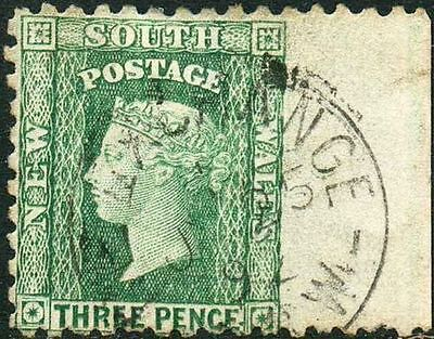 NSW 1882-97 Diadem 3d Yellow-green p10 sg226 with LARGE IMPERFORATE WING MARGIN