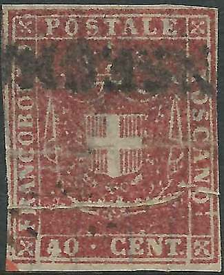 TUSCANY 1860 Arms of Savoy 40c RoseCarmine good imperforate sg48 cv£300 fineused
