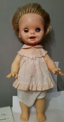 "MATTEL 15"" Saucy Funny Faces Toddler Doll 1972 Mexico vtg toy dress 1970's works"