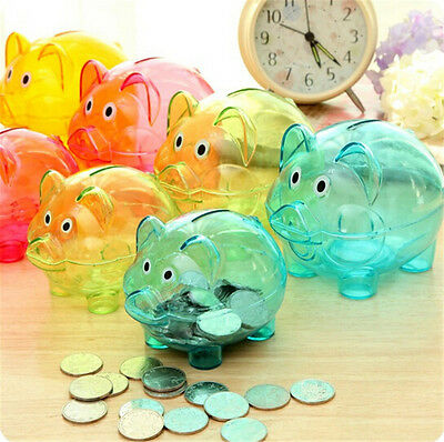 Adorable Clear Plastic Pig Piggy Bank Coin Box Money Cash Saving Case Toy Gift*
