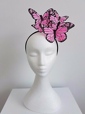 Miss  Papilion womens feather butterfly headband fascinator in light Pink