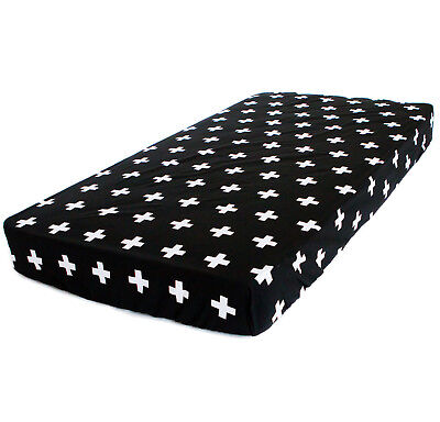 Bambella Designs Fitted Cot Sheet- Black Cross