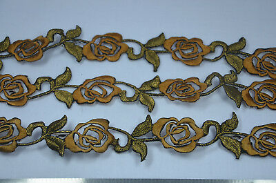 3 x 25cm  DARK GOLD COPPER ROSE FLOWER TRIMMING Embroidered Sew Iron On APPLIQUE