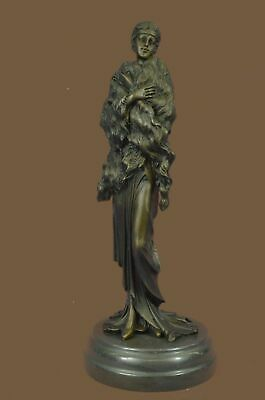 Bronze Sculpture Statue Hot Cast 1920 lady Fur Shawl Museum Quality work MB