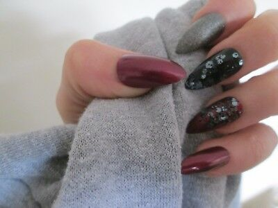 12 hand painted dark red and black stiletto full cover false nails, size small