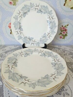 Royal Albert Silver Maple Set of 6 Dinner Plates 26 cm diameter