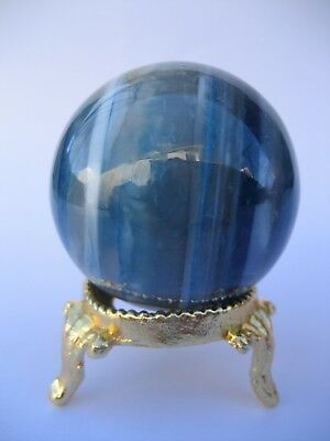 Blue Onyx 4.2cm 94g Crystal Ball Orb Sphere with Gold Stand Strength (BO004)