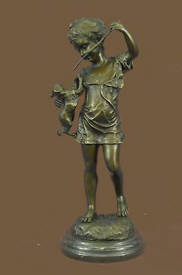 Hand Made Bronze Statue Statute A Girl Holding Dragon Figurine Home Décor Ug Art Sculptures Reproduction Antiques