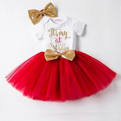 Baby Girls 1st First Birthday Cake Smash Red Tutu Skirt Top Big Headband Outfit