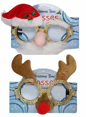 Christmas Glitter Reindeer Or Santa Party Glasses Novelty Sunglasses Fancy Dress