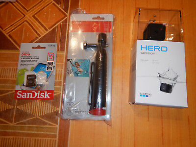 GoPro hero session+ 16GB MEMORY CARD+ SELFIE STICK waterproof new with box