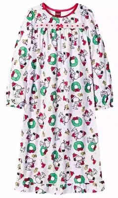 new girls peanuts snoopy christmas holiday flannel nightgown pajamas s xs - Snoopy Christmas Pajamas