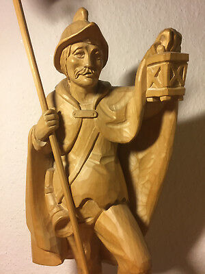 Antique vintage hand carved wooden carving night watchman guard statue figurine