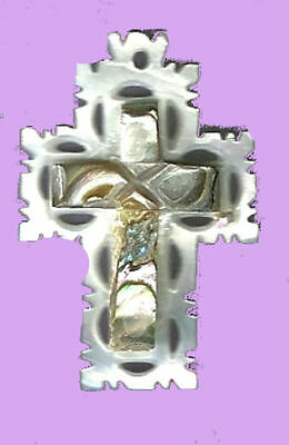 MOTHER OF PEARL Cross Pendant from the Holy Land! White Lattice Back Earthtone