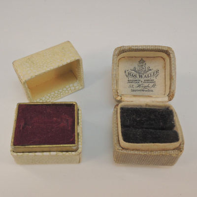 2 Antique Vintage Ring Boxes Jewellery Jewelry Display Presentation Box Case